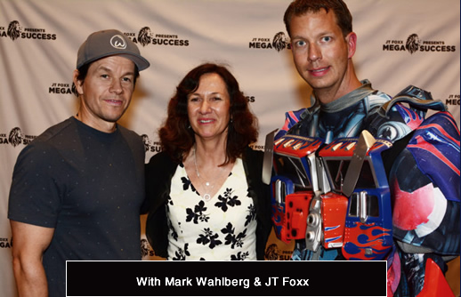 Tracy Anne Scott with JT Foxx and Mark Wahlberg